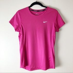 NIKE Dri-Fit Pink Running Short Sleeve Top Medium